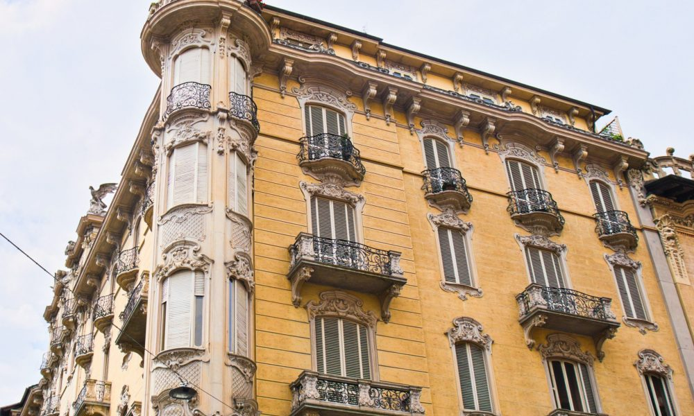 Old Liberty style building in Turin city center, Italy