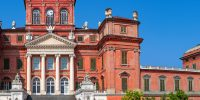 Facade of Racconigi palace - former royal residence of Savoy house in Piedmont, Northern Italy (panorama).